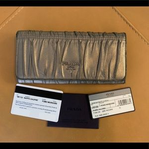 Authentic PRADA Nappa Gaufre Leather Long Wallet